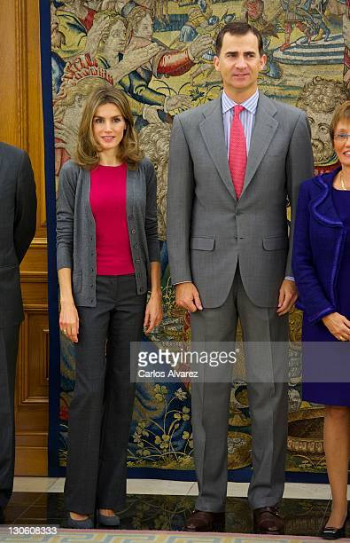 Prince Felipe of Spain and Princess Letizia of Spain attend several audiences at Zaruzela Palace on October 27 2011 in Madrid Spain