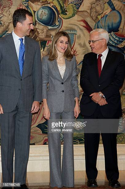 Prince Felipe of Spain and Princess Letizia of Spain attend several audiences at Zarzuela Palace on November 14 2011 in Madrid Spain