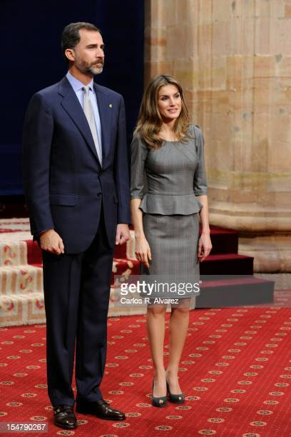 Prince Felipe of Spain and Princess Letizia of Spain attend several audiences at the Reconquista Hotel on October 26 2012 in Oviedo Spain