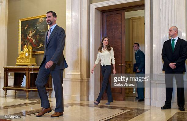Prince Felipe of Spain and Princess Letizia of Spain attend several audiences at the Zarzuela Palace on May 22 2013 in Madrid Spain