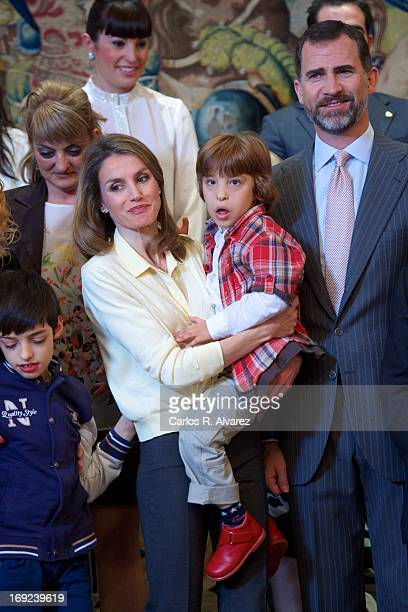 Prince Felipe of Spain and Princess Letizia of Spain attend several audiences at the Zarzuela Palace on May 22, 2013 in Madrid, Spain.