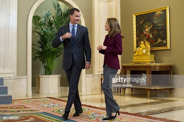 Prince Felipe of Spain and Princess Letizia of Spain attend several audiences at the Zarzuela Palace on January 9, 2014 in Madrid, Spain.