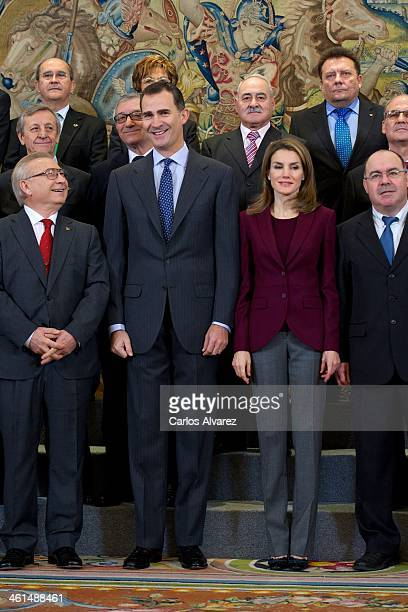 Prince Felipe of Spain and Princess Letizia of Spain attend several audiences at the Zarzuela Palace on January 9 2014 in Madrid Spain