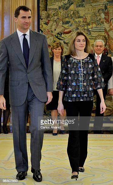 Prince Felipe of Spain and Princess Letizia of Spain attend several audiences at the Zarzuela Palace on April 7 2010 in Madrid Spain
