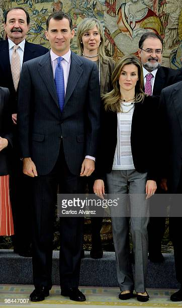 Prince Felipe of Spain and princess Letizia of Spain attend several audiences at the Zarzuela Palace on April 14 2010 in Madrid Spain