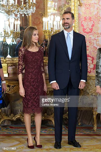 Prince Felipe of Spain and Princess Letizia of Spain attend Spain's National Day Royal Reception at the Zarzuela Palace on October 12 2013 in Madrid...