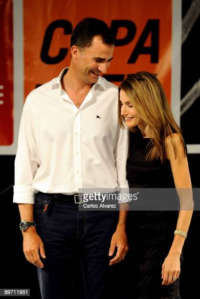 Prince Felipe of Spain and Princess Letizia of Spain attend the 28th Copa del Rey Mapfre Audi Sailing Cup Awards Celebration at Ses Voltes Cultural...