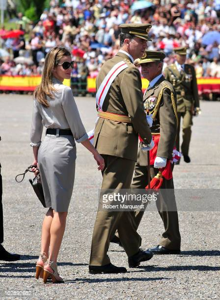 Prince Felipe of Spain and Princess Letizia of Spain attend the 35th graduation ceremony of the Spanish Military Officer Academy on July 14, 2010 in...