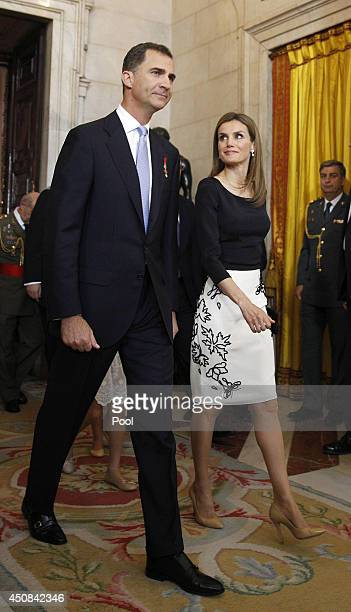 Prince Felipe of Spain and Princess Letizia of Spain attend the official abdication ceremony at the Royal Palace on June 18 2014 in Madrid Spain King...