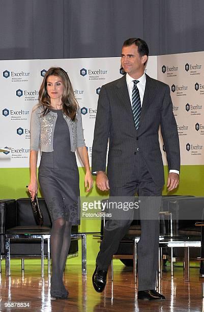Prince Felipe of Spain and Princess Letizia of Spain attend the Liderazgo Turistico Forum at the Palacio de Congresos on January 19 2010 in Madrid...
