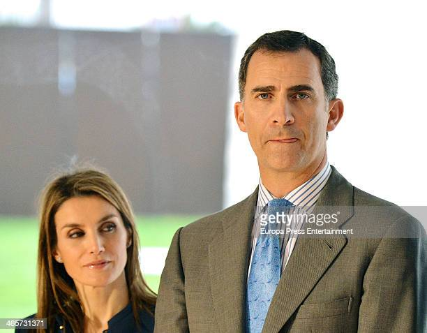 Prince Felipe of Spain and Princess Letizia of Spain attend the 'Castillo De La Luz' Architectural Set Presentation on January 28 2014 in Las Palmas...