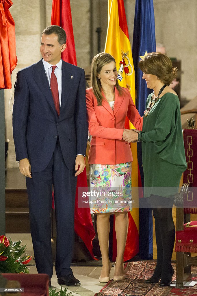 Prince Felipe of Spain and Princess Letizia of Spain (C) attend the 'Principe de Viana' 2014 awards on June 4, 2014 in San Salvador de Leyre, Spain.