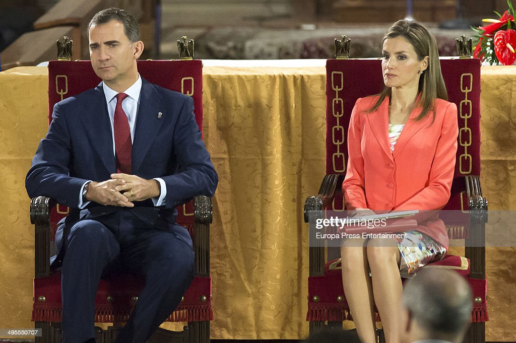 Prince Felipe of Spain and Princess Letizia of Spain attend the 'Principe de Viana' 2014 awards on June 4, 2014 in San Salvador de Leyre, Spain.