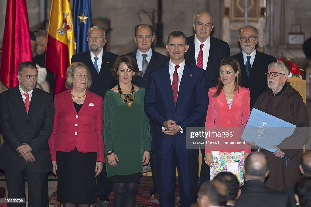 Prince Felipe of Spain (3R) and Princess Letizia of Spain (2R)attend the 'Principe de Viana' 2014 awards on June 4, 2014 in San Salvador de Leyre, Spain.