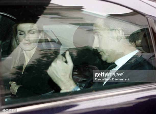 Prince Felipe of Spain and Princess Letizia of Spain attend the funeral chapel for Adolfo Suarez the prime minister who led Spain to democracy at...
