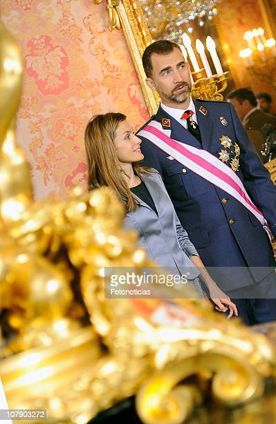 Prince Felipe of Spain and Princess Letizia of Spain attend the new year Pascua Militar ceremony at The Royal Palace on January 6 2011 in Madrid Spain