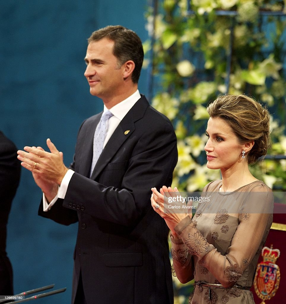 Prince Felipe of Spain and Princess Letizia of Spain attend the 'Prince of Asturias Awards 2011' ceremony at the Campoamor Theater on October 21, 2011 in Oviedo, Spain.