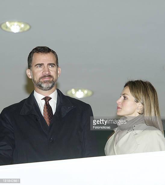 Prince Felipe of Spain and Princess Letizia of Spain attend the opening of Galicia's Library on January 11 2011 in Santiago de Compostela Spain