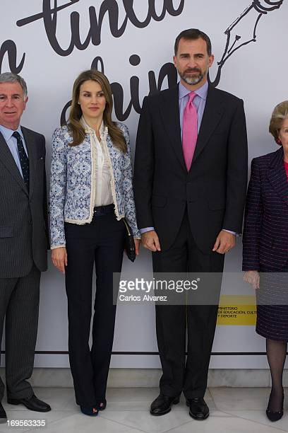 Prince Felipe of Spain and Princess Letizia of Spain attend the opening of exhibition 'The Transition In Indian Ink' at the National Library on May...