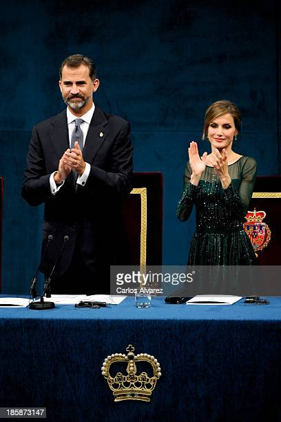 Prince Felipe of Spain and Princess Letizia of Spain attend the 'Prince of Asturias Awards 2013' ceremony at the Campoamor Theater on October 25 2013...