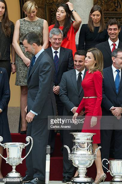 Prince Felipe of Spain and Princess Letizia of Spain attend the Spanish National Sports Awards 2013 at the El Pardo Palace on December 2, 2013 in...