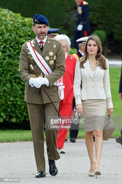 Prince Felipe of Spain and Princess Letizia of Spain attend the Royal Guards Flag ceremony at the El Pardo Palace on May 10 2013 in Madrid Spain
