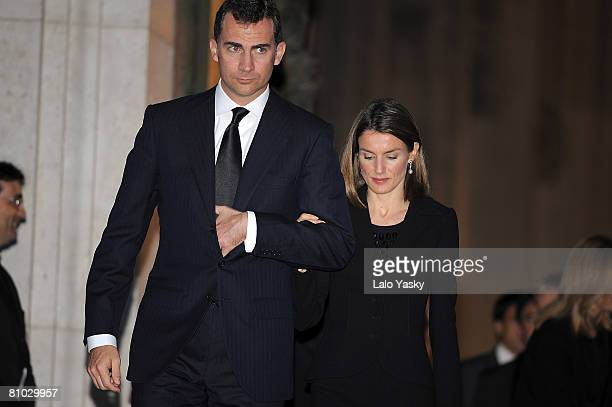 Prince Felipe of Spain and Princess Letizia of Spain attend the State Funeral for ex President Leopoldo Calvo Sotelo at Almudena Cathedral on May 8...