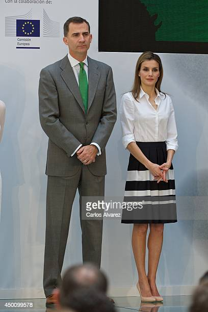 Prince Felipe of Spain and Princess Letizia of Spain attend the European Environment to Enterprise Awards at the Misnisterio de Agricultura on June 5...