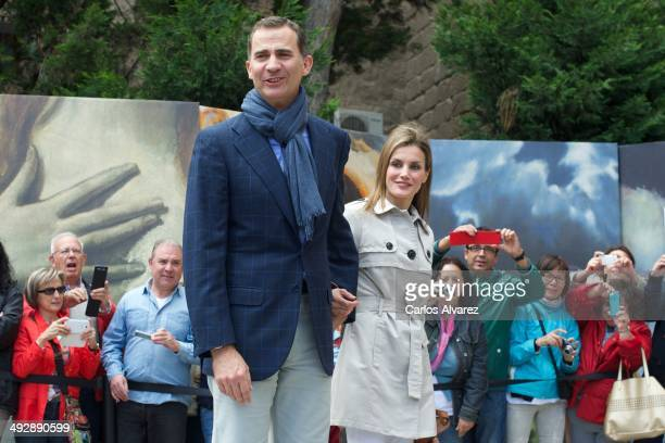 Prince Felipe of Spain and Princess Letizia of Spain celebrate their 10th wedding anniversary visiting the El Greco exhibition at the Santa Cruz...
