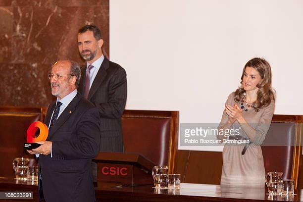 Prince Felipe of Spain and Princess Letizia of Spain give an award to Mayor of Valladolid Francisco Javier Leon de la Riva during 'Ciudad de la...