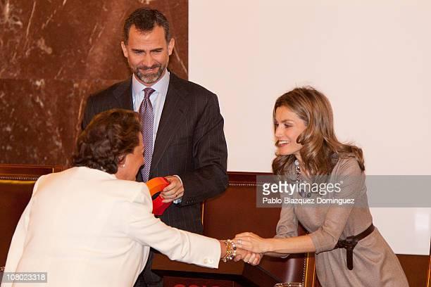 Prince Felipe of Spain and Princess Letizia of Spain give an award to mayoress of Valencia Rita Barbera during 'Ciudad de la Ciencia y la Innovacion'...