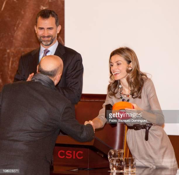 Prince Felipe of Spain and Princess Letizia of Spain give the 'Ciudad de la Ciencia y la Innovacion' Awards at CSIC Central Office on January 13 2011...