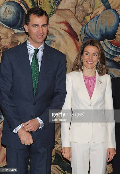 Prince Felipe of Spain and Princess Letizia of Spain host a reception at the Zarzuela Palace on May 26, 2008 in Madrid, Spain.