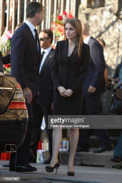 Prince Felipe of Spain and Princess Letizia of Spain leave Santiago de Compostela Cathedral after a memorial Mass for the victims of the Spanish...