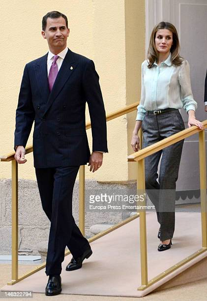 Prince Felipe of Spain and Princess Letizia of Spain meet members of the 'Principe de Asturias Foundation' at El Pardo Palace on June 13 2012 in...