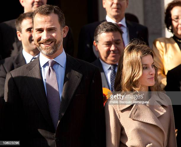 Prince Felipe of Spain and Princess Letizia of Spain pose for a picture during 'Ciudad de la Ciencia y la Innovacion' Awards at CSIC Central Office...