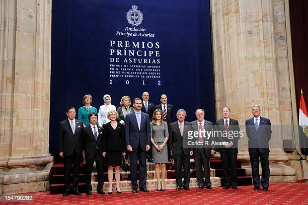 Prince Felipe of Spain and Princess Letizia of Spain pose for a picture with the 2012 Prince of Asturias Award laureates at the Reconquista Hotel on...