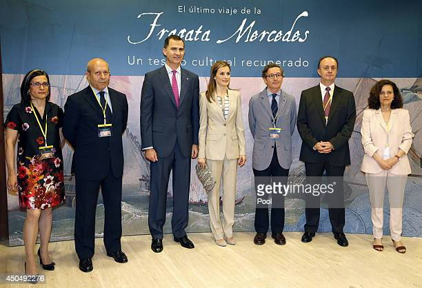 Prince Felipe of Spain and Princess Letizia of Spain pose with Minister of Education and Culture Jose Ignacio Wert director Andrew Carter National...