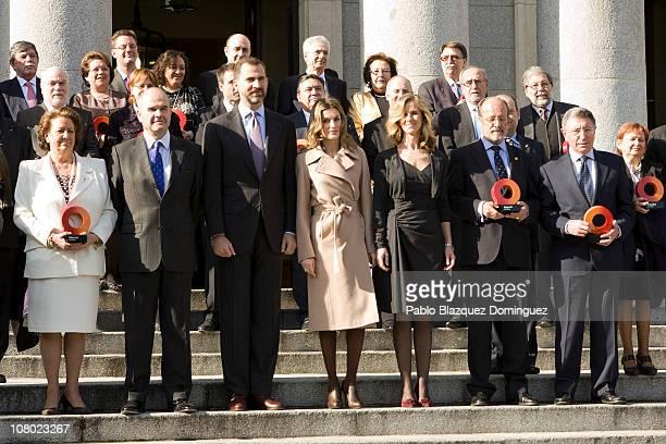 Prince Felipe of Spain and Princess Letizia of Spain preside a family picture during 'Ciudad de la Ciencia y la Innovacion' Awards at CSIC Central...