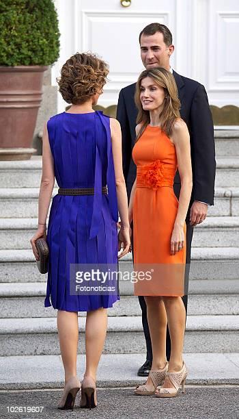 Prince Felipe of Spain and Princess Letizia of Spain receive Asma alAssad at Zarzuela Palace on July 4 2010 in Madrid Spain