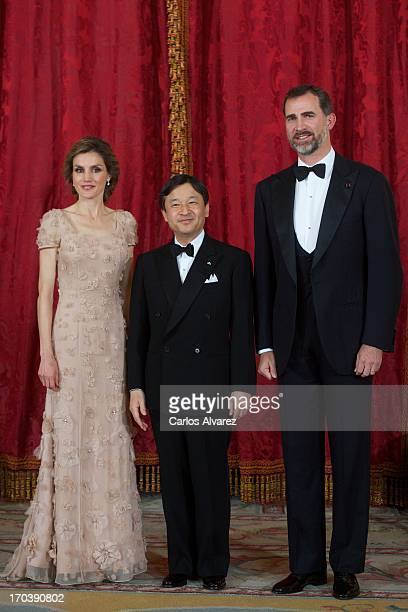 Prince Felipe of Spain and Princess Letizia of Spain receive Crown Prince Naruhito of Japan for a Gala Dinner at the Royal Palace during the third...