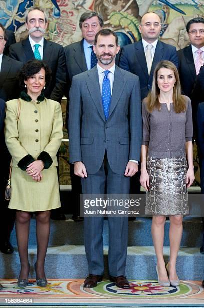 Prince Felipe of Spain and Princess Letizia of Spain receive Patronato de la Fundacion Conocimiento y Desarrollo representatives at Zarzuela Palace...