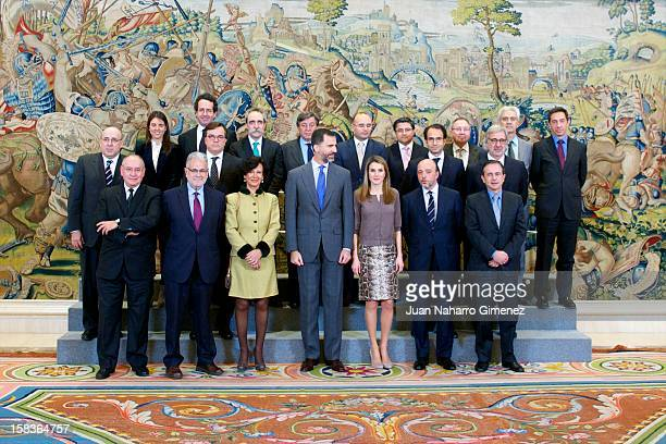 Prince Felipe of Spain and Princess Letizia of Spain receive Patronato de la Fundacion Conocimiento y Desarrollo at Zarzuela Palace on December 14...