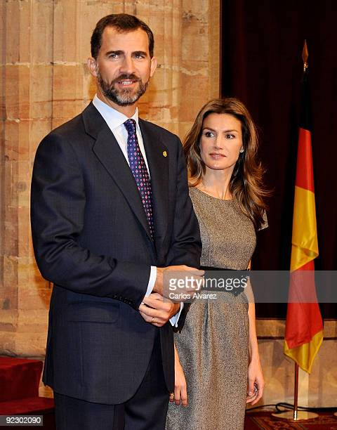 Prince Felipe of Spain and Princess Letizia of Spain receive in audience guests of Prince of Asturias Awards 2009 at the Reconquista Hotel on October...