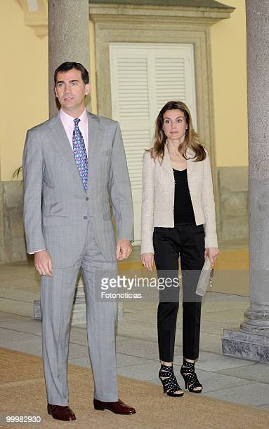 Prince Felipe of Spain and Princess Letizia of Spain receive members of the 'Principe de Girona' foundation at El Pardo Palace on May 19 2010 in...