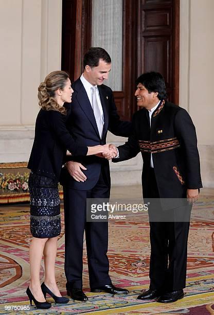 Prince Felipe of Spain and Princess Letizia of Spain receive President of Bolivia Evo Morales during the VI European Union Latin America and...