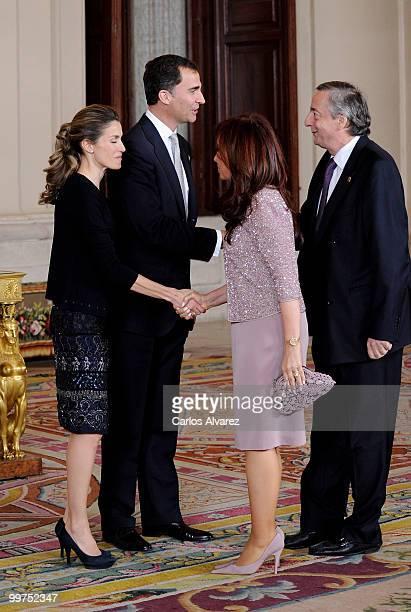 Prince Felipe of Spain and Princess Letizia of Spain receive President of Argentina Cristina Fernandez de Kirchner and husband Nestor Kirchner during...