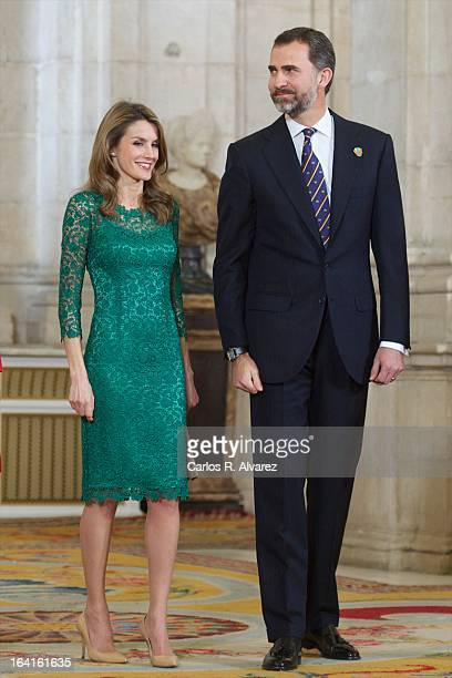 Prince Felipe of Spain and Princess Letizia of Spain receive International Olympic Committee Evaluation Commission Team for a dinner at the Royal...