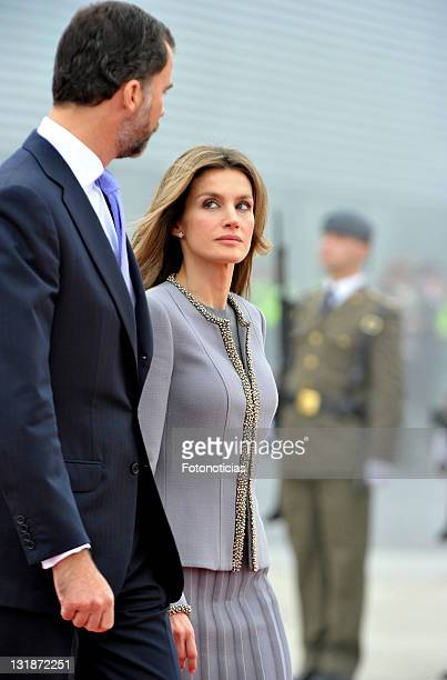 Prince Felipe of Spain and Princess Letizia of Spain receive Pope Benedict XVI at Lavacolla airport on November 6 2010 in Santiago de Compostela Spain
