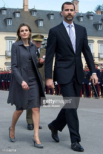 Prince Felipe of Spain and Princess Letizia of Spain receive Prince Charles, Prince of Wales and Camilla, Duchess of Cornwall at the Palacio Del...